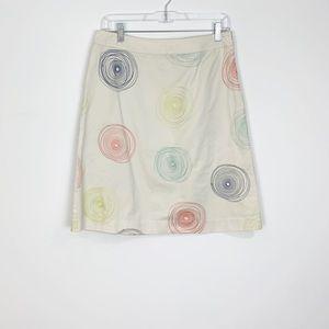 Boden A-Line Fun Khaki Spirals Skirt Size 6